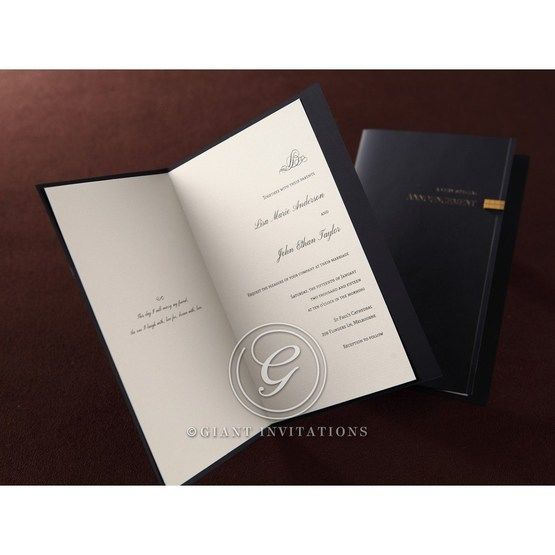 Unfolded invitation sleeve, thermography printed white inner card,