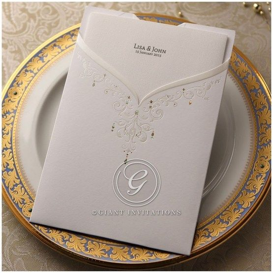 White pocket invitation, reversible, bridal dress design, foil stamping, embossed victorian pattern