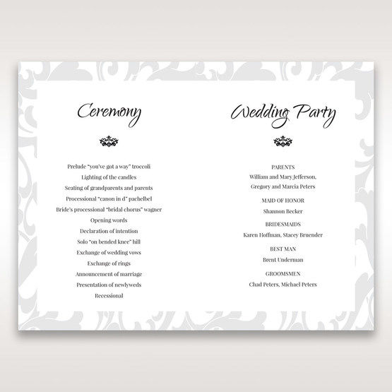 Blue Laser Scrolling Grandeur Layered Laser Cut - Order of Service - Wedding Stationery - 95