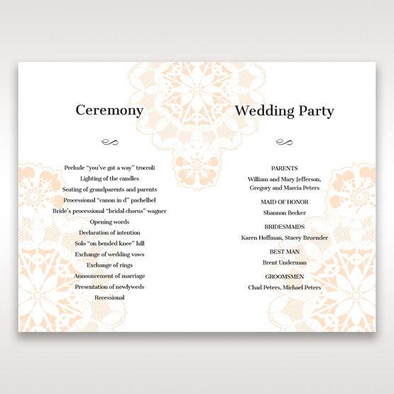 Orange Laser Cut Floral Frame - Order of Service - Wedding Stationery - 25