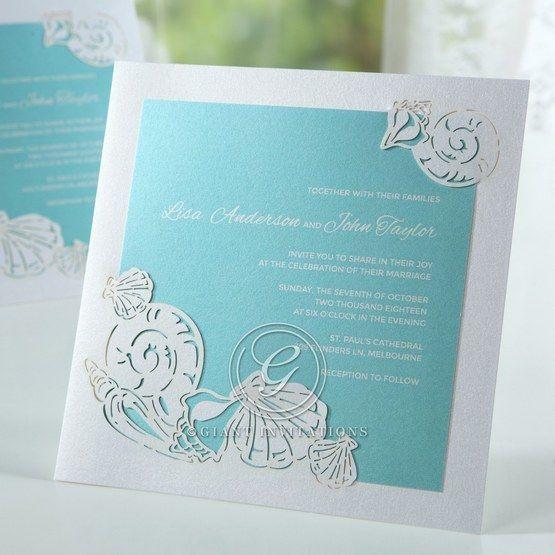 Green Ocean Frame I Laser Cut - Wedding invitation - 76