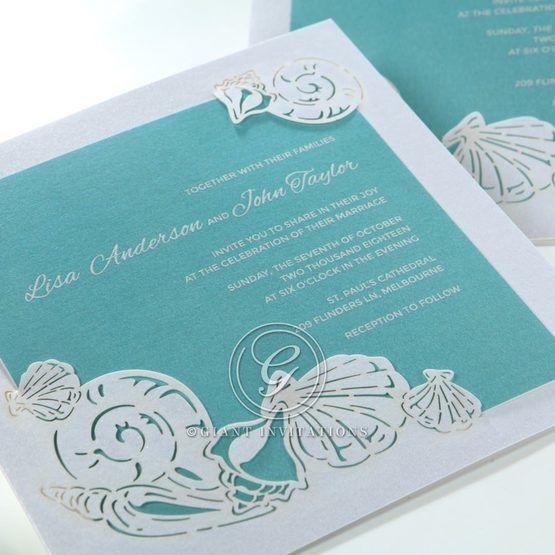 Green Ocean Frame I Laser Cut - Wedding invitation - 77