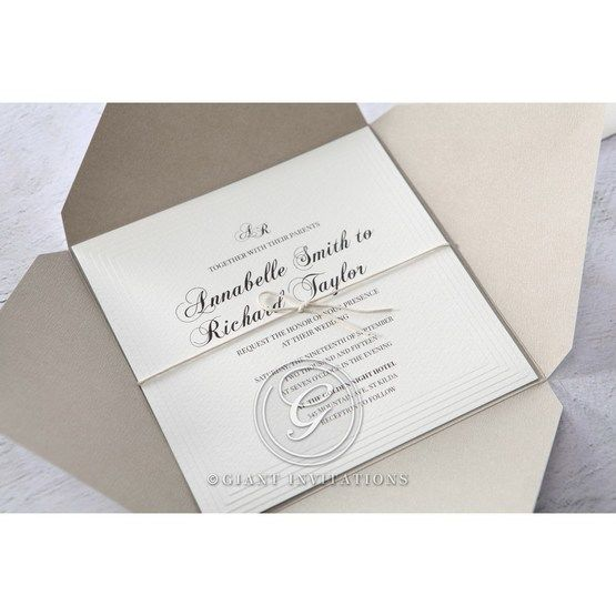 White Modern Pocket-Grey - Wedding invitation - 16