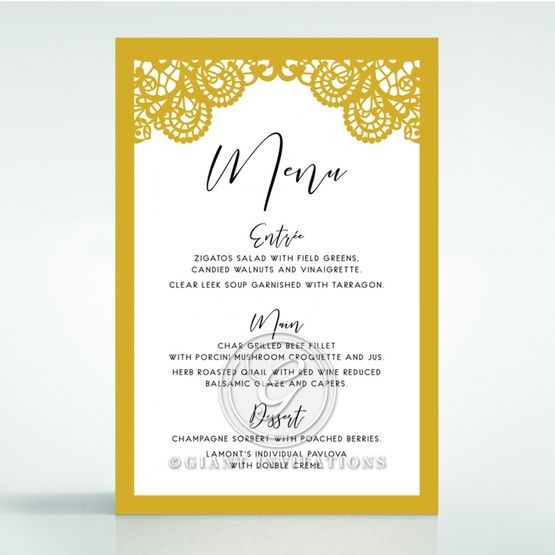 Breathtaking Baroque Foil Laser Cut menu card DM120001-DG