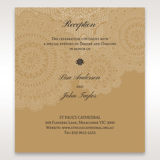 Yellow/Gold Tri-Fold Laser Cut Gold - Reception Cards - Wedding Stationery - 53