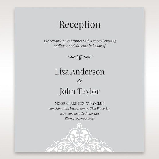 Silver/Gray Jeweled White Lasercut Pocket - Reception Cards - Wedding Stationery - 82