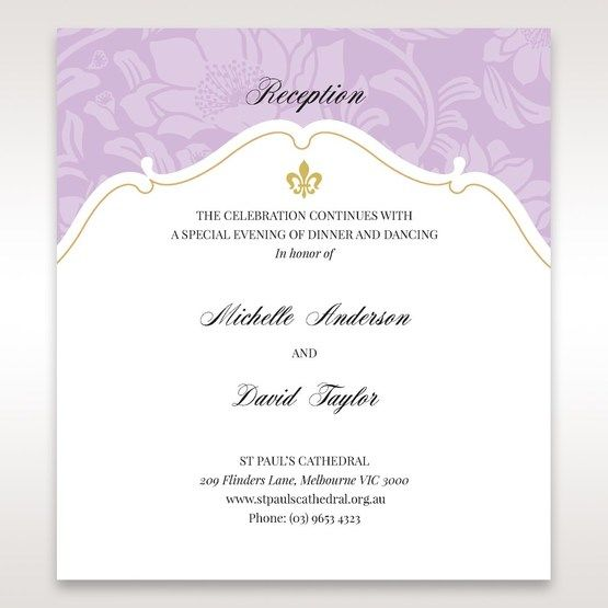 Purple Gold Foiled Floral Laser Cut - Reception Cards - Wedding Stationery - 90