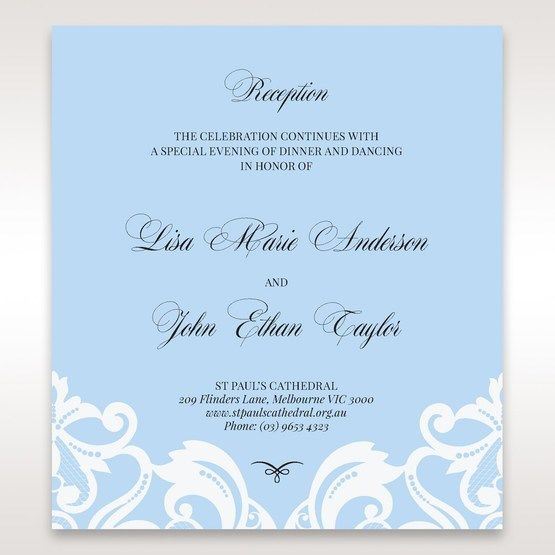 Blue Classy Laser Cut with White Bow - Reception Cards - Wedding Stationery - 21