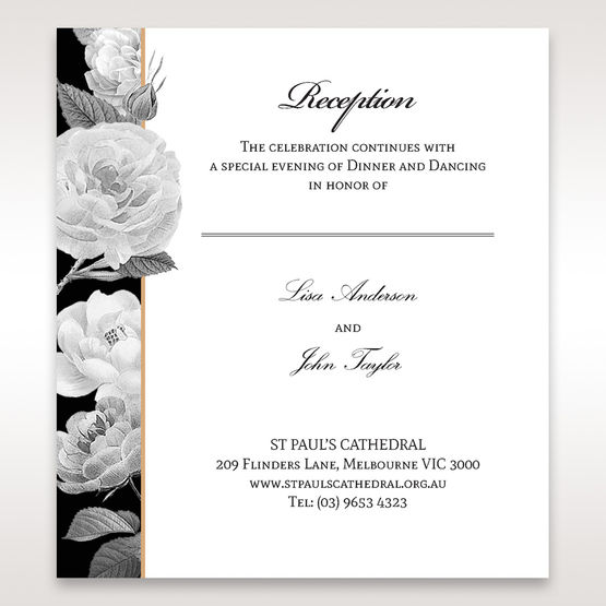 Black Gold Poppies in a Rose Garden - Reception Cards - Wedding Stationery - 97
