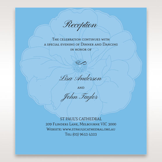 Blue Urban Flower Handcrafted - Reception Cards - Wedding Stationery - 21