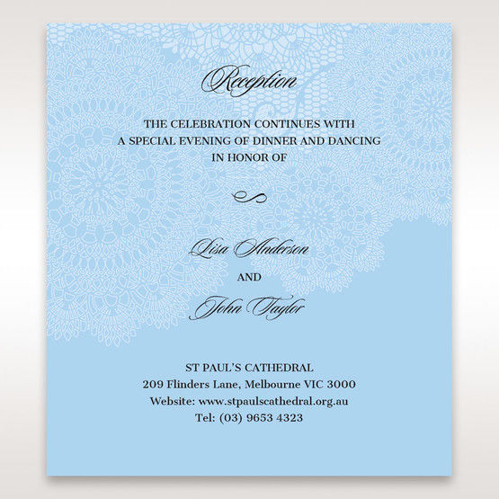 Blue Handmade Vintage Lace Floral - Reception Cards - Wedding Stationery - 47
