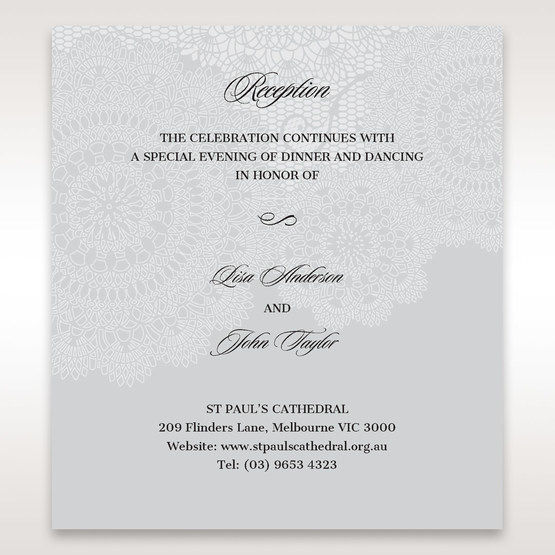 Silver/Gray Handmade Vintage Lace Floral - Reception Cards - Wedding Stationery - 79