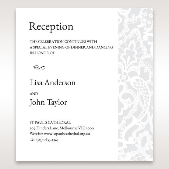 White Elegant Laser Cut - Reception Cards - Wedding Stationery - 55
