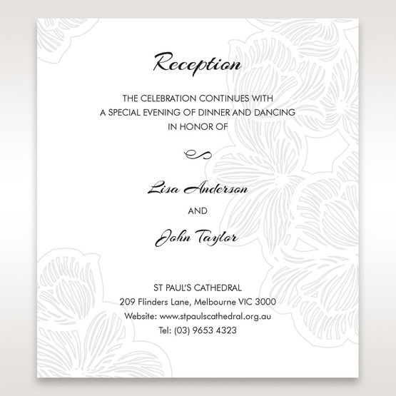 White Laser Cut Flower Frame - Reception Cards - Wedding Stationery - 74