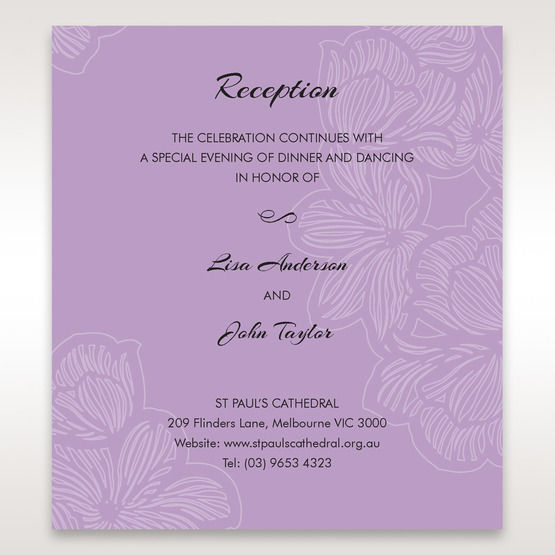 Purple Laser Cut Flower Frame III - Reception Cards - Wedding Stationery - 99