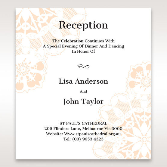 Orange Laser Cut Floral Frame - Reception Cards - Wedding Stationery - 94