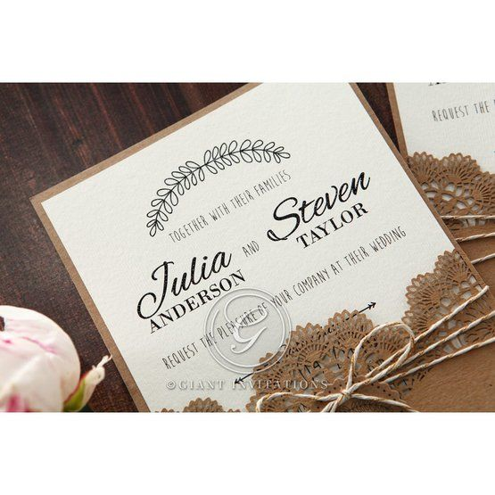 Country Lace Pocket Wedding invitation in Brown PWI115086 3