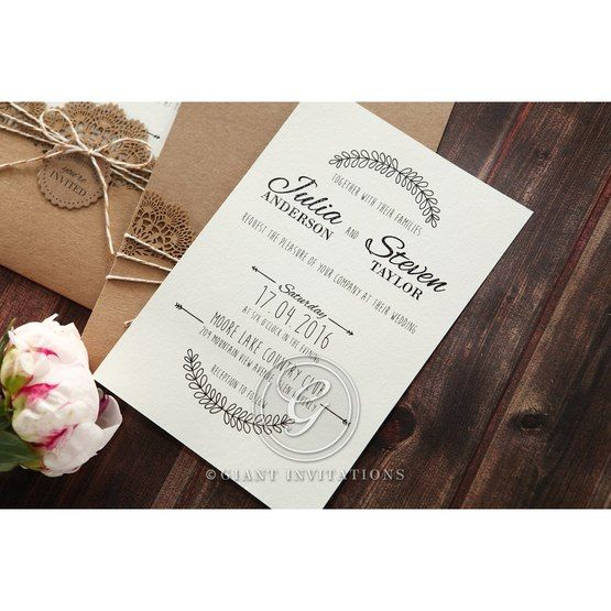Country Lace Pocket Wedding invitation in Brown PWI115086 9