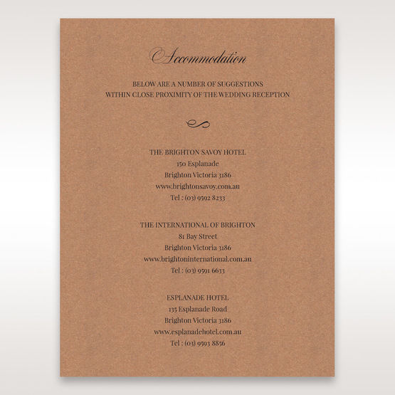 Brown Rustic Laser Cut Pocket with Classic Bow - Accommodation - Wedding Stationery - 88