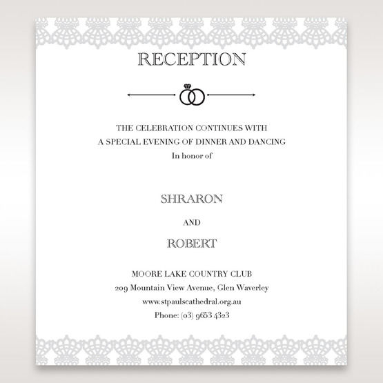 White Traditional Romance - Reception Cards - Wedding Stationery - 5