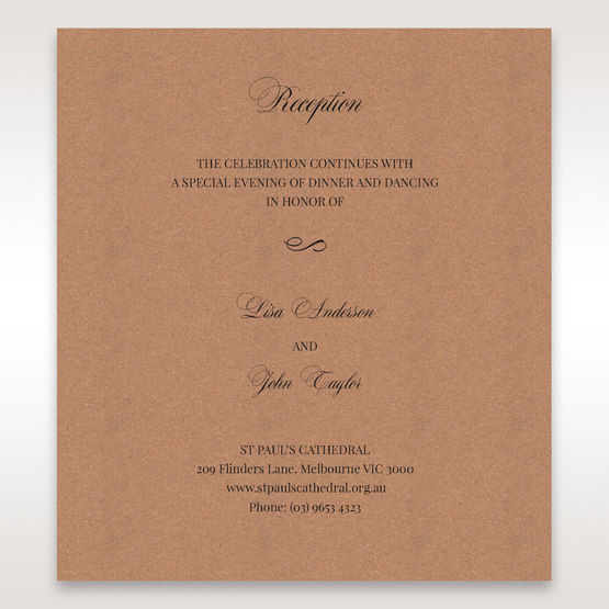 Brown Rustic Laser Cut Pocket with Classic Bow - Reception Cards - Wedding Stationery - 93