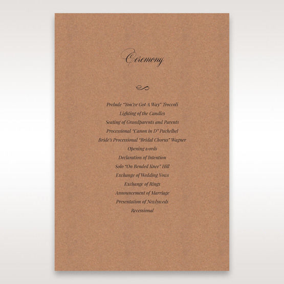 Brown Rustic Laser Cut Pocket with Classic Bow - Order of Service - Wedding Stationery - 3
