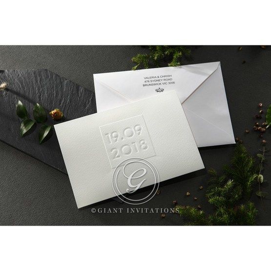 Embossed Date wedding invitations HB14131_3