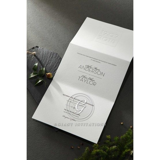 Embossed Date wedding invitations HB14131_4