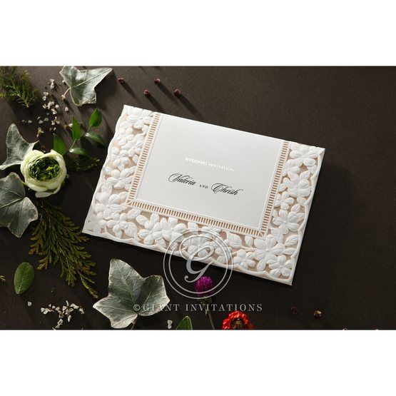 Embossed Floral Frame wedding invitations HB15106_1