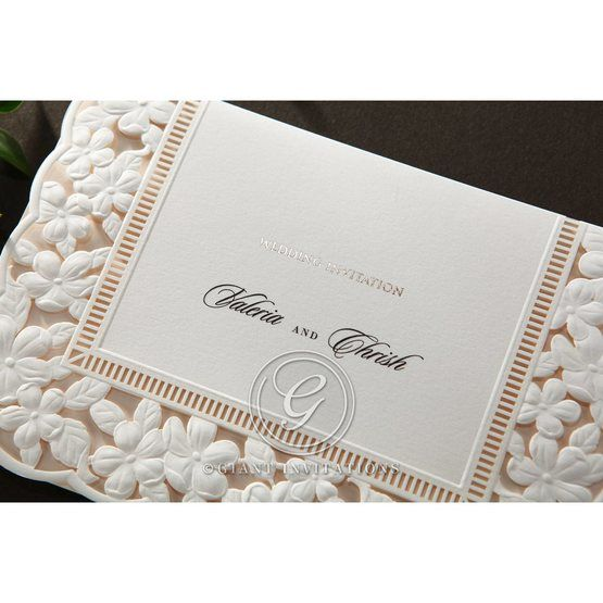 Embossed Floral Frame wedding invitations HB15106_2