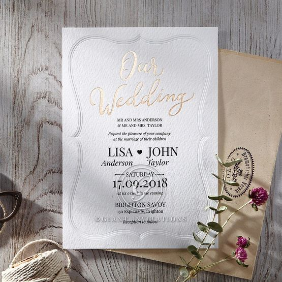Embossed Frame wedding invitations OWI116025
