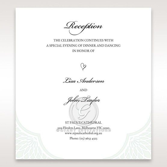 Framed Elegance reception card DC15104