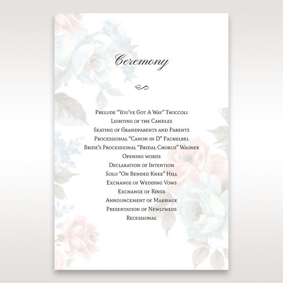 Blue Magical Flower Garden - Order of Service - Wedding Stationery - 87