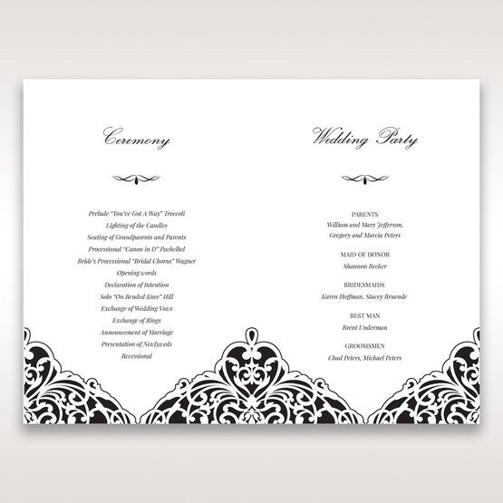White Jeweled Romance Black Laser Cut - Order of Service - Wedding Stationery - 65