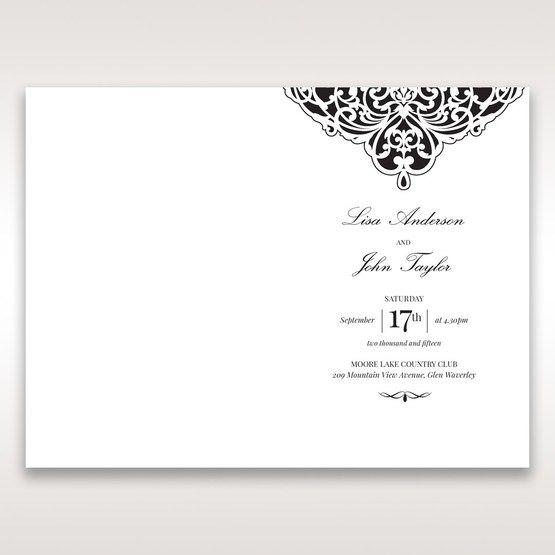 White Jeweled Romance Black Laser Cut - Order of Service - Wedding Stationery - 66