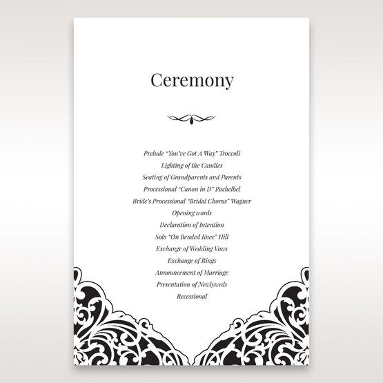 White Jeweled Romance Black Lasercut Pocket - Order of Service - Wedding Stationery - 35