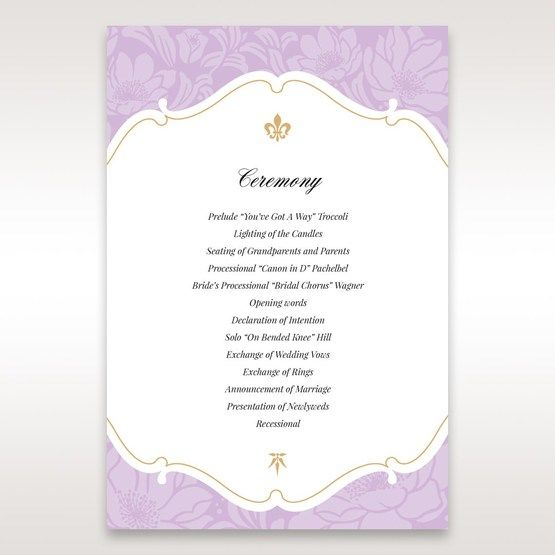 Purple Gold Foiled Floral Laser Cut - Order of Service - Wedding Stationery - 38