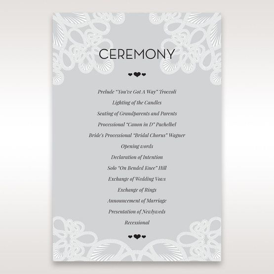 Silver/Gray Elagant Laser Cut Wrap - Order of Service - Wedding Stationery - 54
