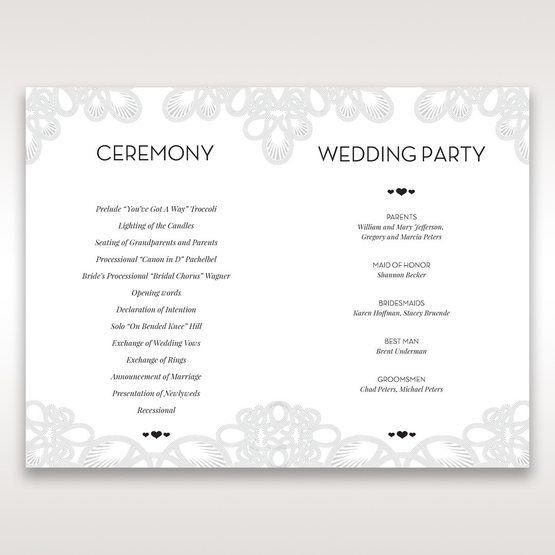Silver/Gray Elagant Laser Cut Wrap - Order of Service - Wedding Stationery - 17