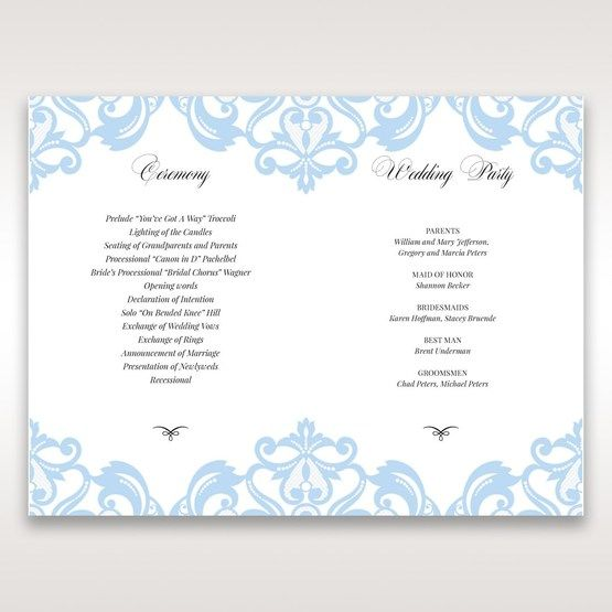 Blue Classy Laser Cut with White Bow - Order of Service - Wedding Stationery - 47