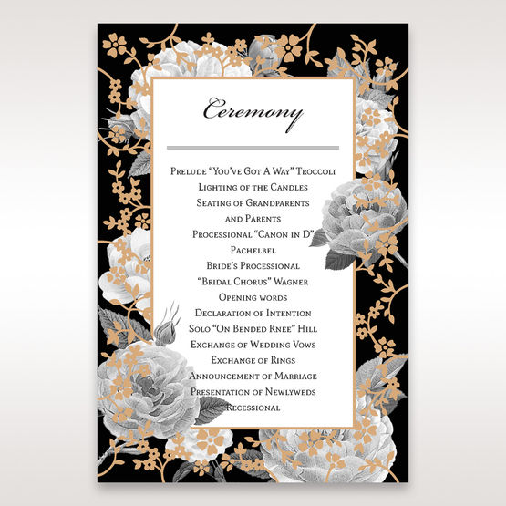 Black Gold Poppies in a Rose Garden - Order of Service - Wedding Stationery - 23
