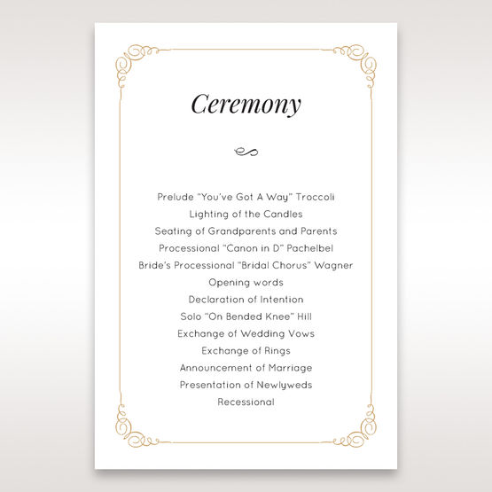 Yellow/Gold Embossed Borders with Classy Gold patterns - Order of Service - Wedding Stationery - 30