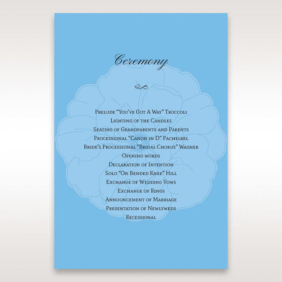Blue Urban Flower Handcrafted - Order of Service - Wedding Stationery - 83