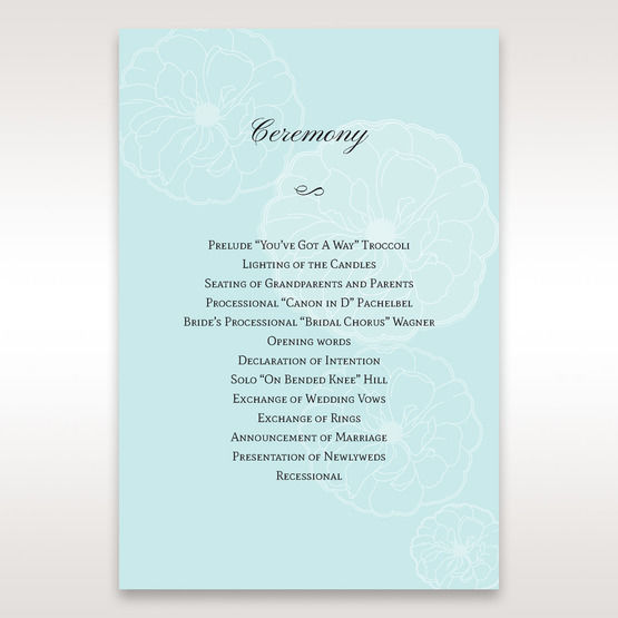 Blue Sculpted White Flower - Order of Service - Wedding Stationery - 87