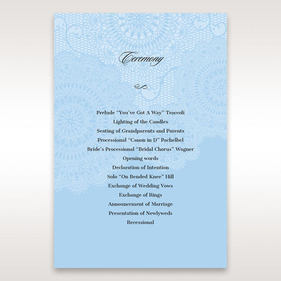 Blue Handmade Vintage Lace Floral - Order of Service - Wedding Stationery - 20