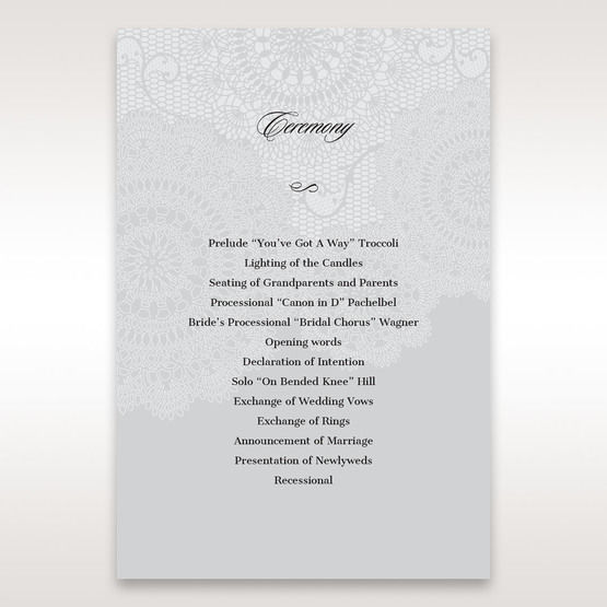 Silver/Gray Handmade Vintage Lace Floral - Order of Service - Wedding Stationery - 21