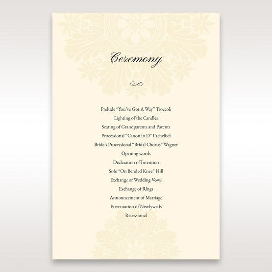 Brown Embossed Swirls Hard Layer - Order of Service - Wedding Stationery - 24