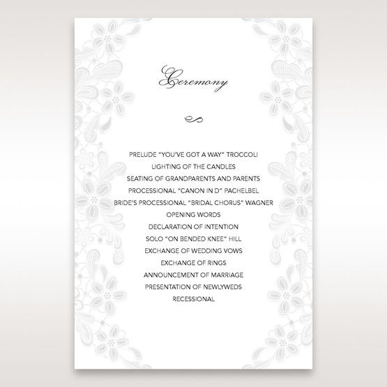 White Laser Cut Floral Wrap - Order of Service - Wedding Stationery - 98