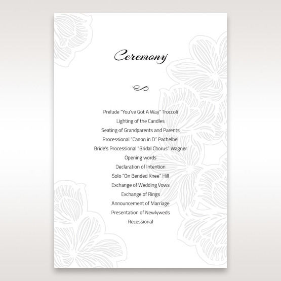 Orange Laser Cut Flower Frame - Order of Service - Wedding Stationery - 30