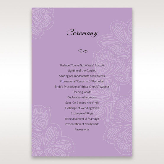 Purple Laser Cut Flower Frame III - Order of Service - Wedding Stationery - 27